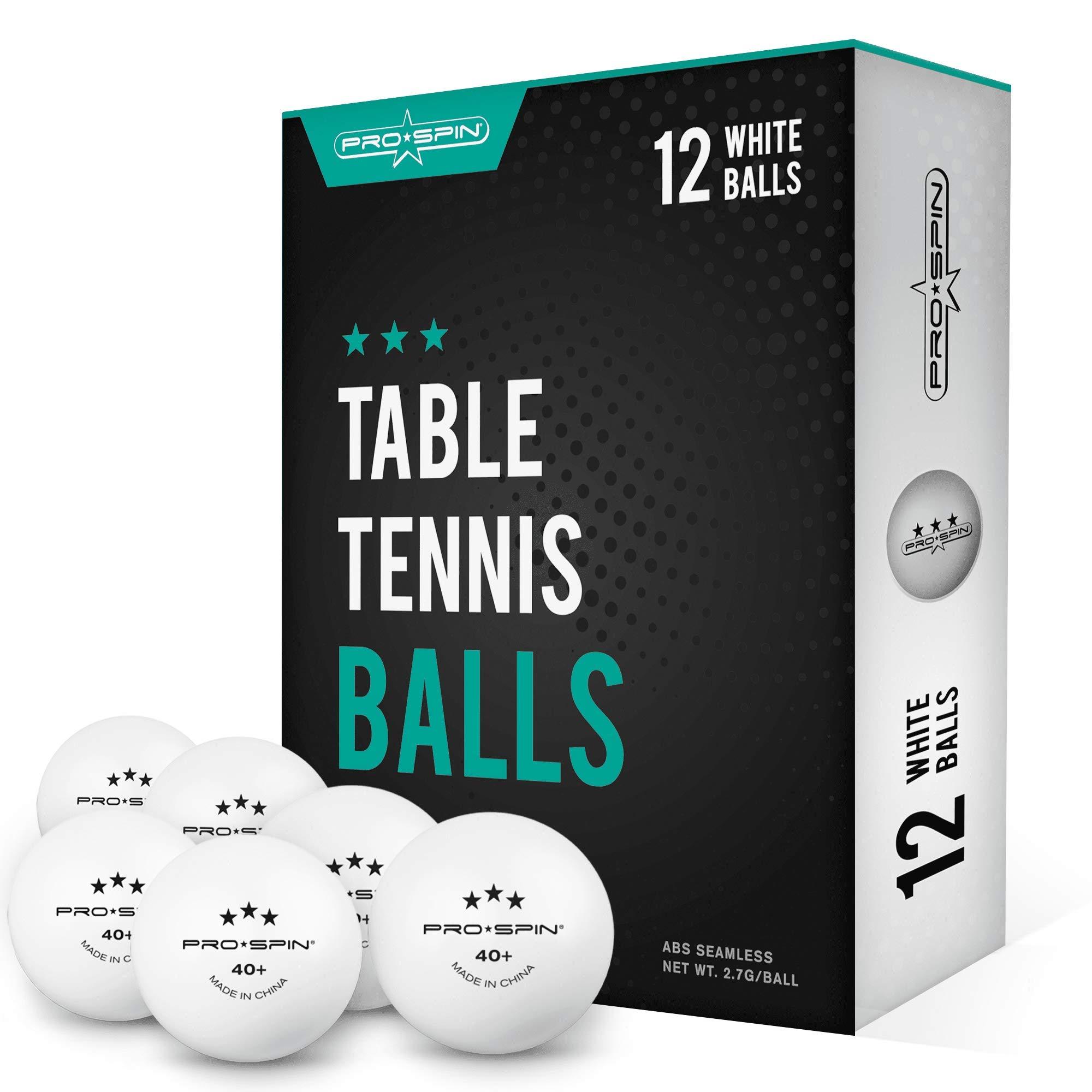 12 Pelotas de Ping Pong 3 Estrellas PRO SPIN Blancas