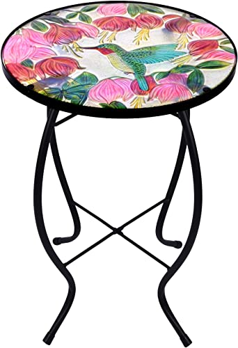 Continental Art Center Inc. CAC3411831 14'' Hand Painted Hummingbird Glass Plant Stand/Side Table