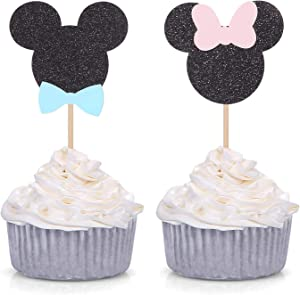 24 Counts Minnie Mouse Inspired Cupcake Toppers Boy or Girl Gender reveal Party Decorations