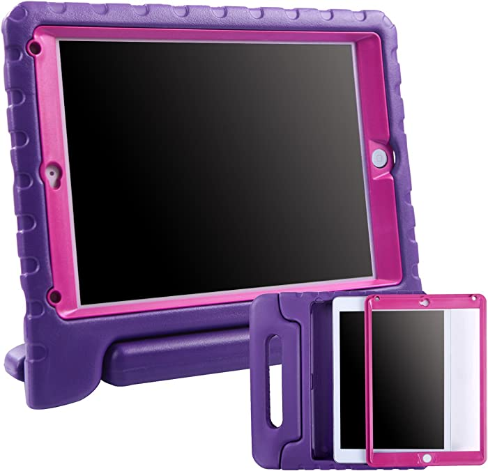 HDE Case for iPad 9.7-inch 2018 / 2017 Kids Shockproof Bumper Hard Cover Handle Stand w/ Built in Screen Protector for New Apple Education iPad 9.7 Inch (6th Gen) / 5th Generation iPad 9.7 Purple Pink