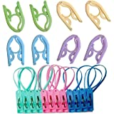 Maydahui 8PCS Folding Clothes Hangers Portable Drying Rack + 12PCS windproof sock bra clip for travel (Pack of 20)