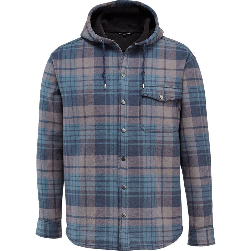 Wolverine Men's Bucksaw Duralock Bonded Micro-Fleece Hooded Shirt Jacket, Dusk Blue Plaid, X-Large