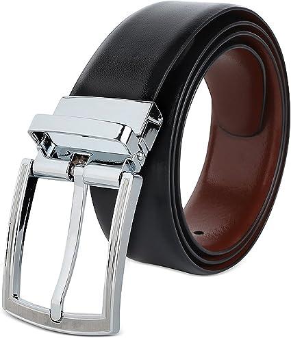 TALLA 80 cm/ 28 Inches. VALERIO Cinturón Casual Formal Reversible en Marrón y Negro para Hombres (DOS EN UNO) de Genuino Completo Cuero Natural con Hebilla Giratoria