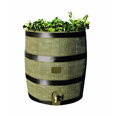 RTS Home Accents Round 35-Gallon Rain Barrel with Brass Spigot and Built-In Planter, Woodgrain : Rain Barrel Wood : Garden & Outdoor