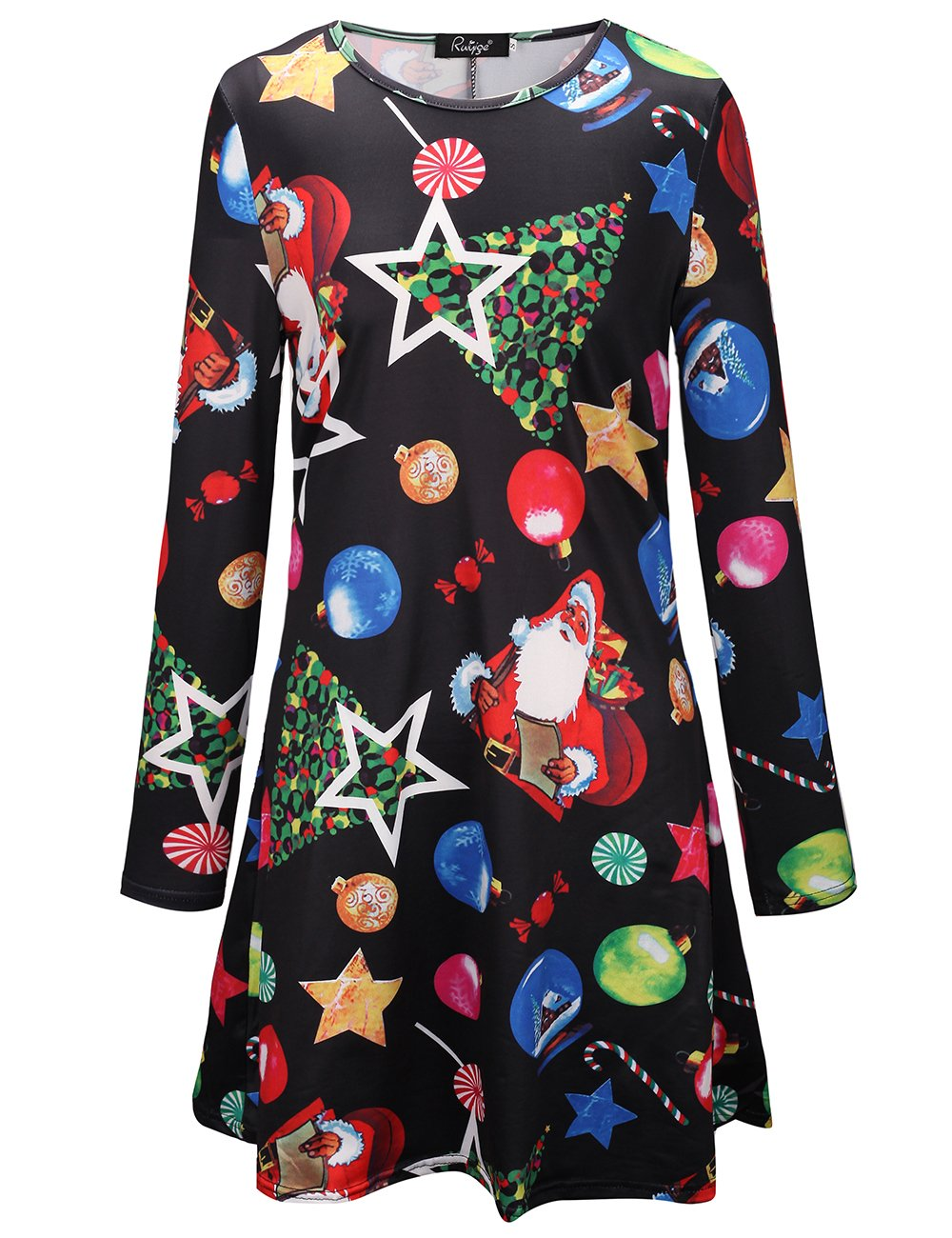 Womens Christmas Swing Dress Long Sleeve Santa Snowflake Colourful Special Gift G195-K195