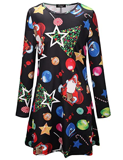 58c7a632c96f Ruiyige Womens Christmas Swing Dress Long Sleeve Santa Snowflake Colourful:  Amazon.ca: Clothing & Accessories