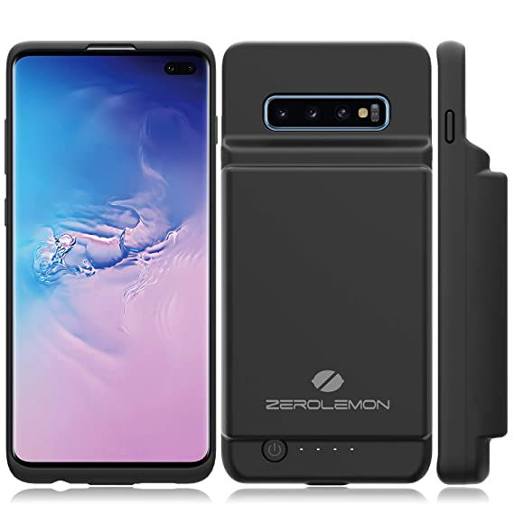 ZeroLemon Galaxy S10 Plus Battery Case, 10000mAh Extended Rechargeable Battery with Soft TPU Protective Portable Case for Galaxy S10 - Black