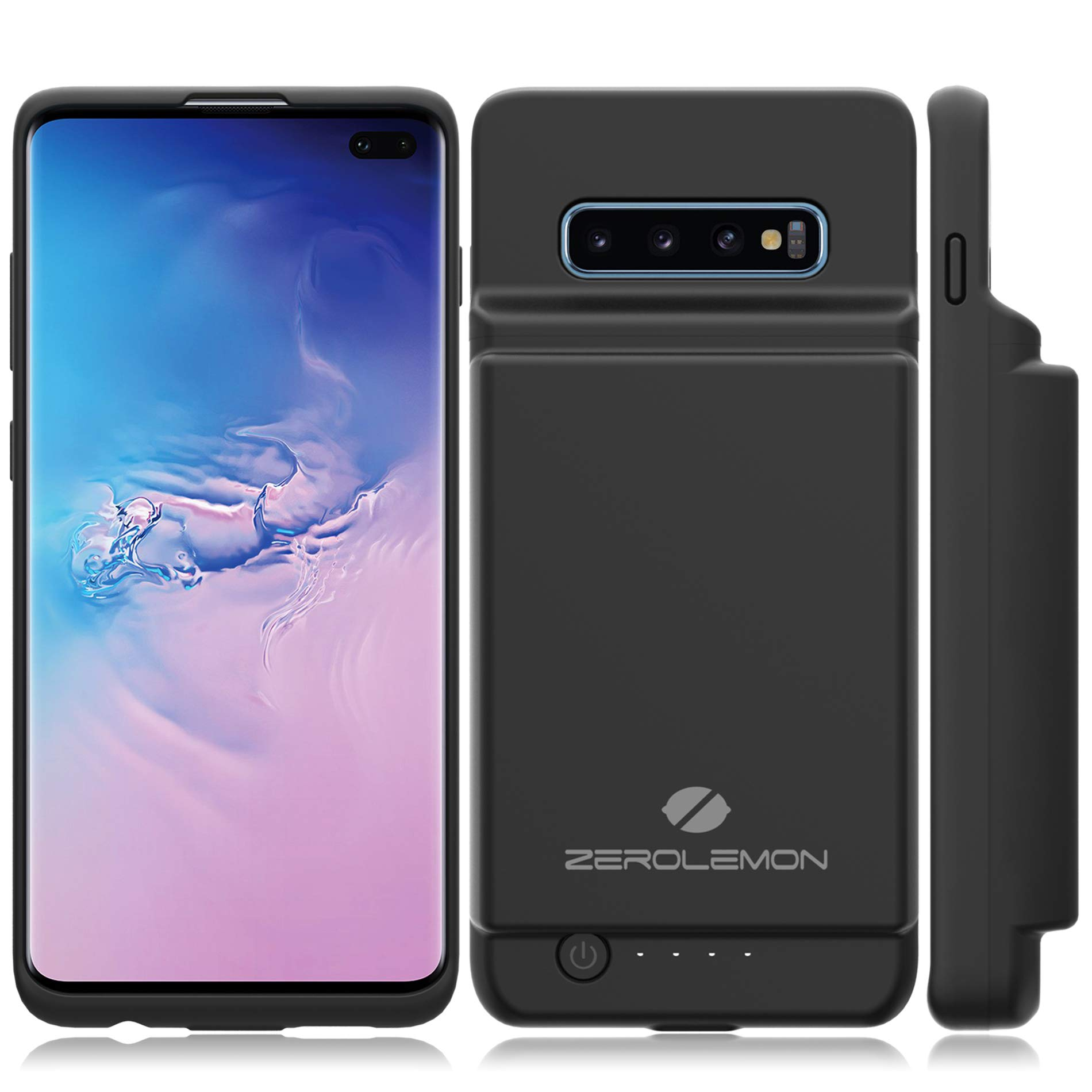 Galaxy S10 Plus Extended Battery Case, ZeroLemon Ultra Power 10000mAh Extended Rechargeable Battery Case with Full Edge Protection for Samsung Galaxy S10 Plus- Black