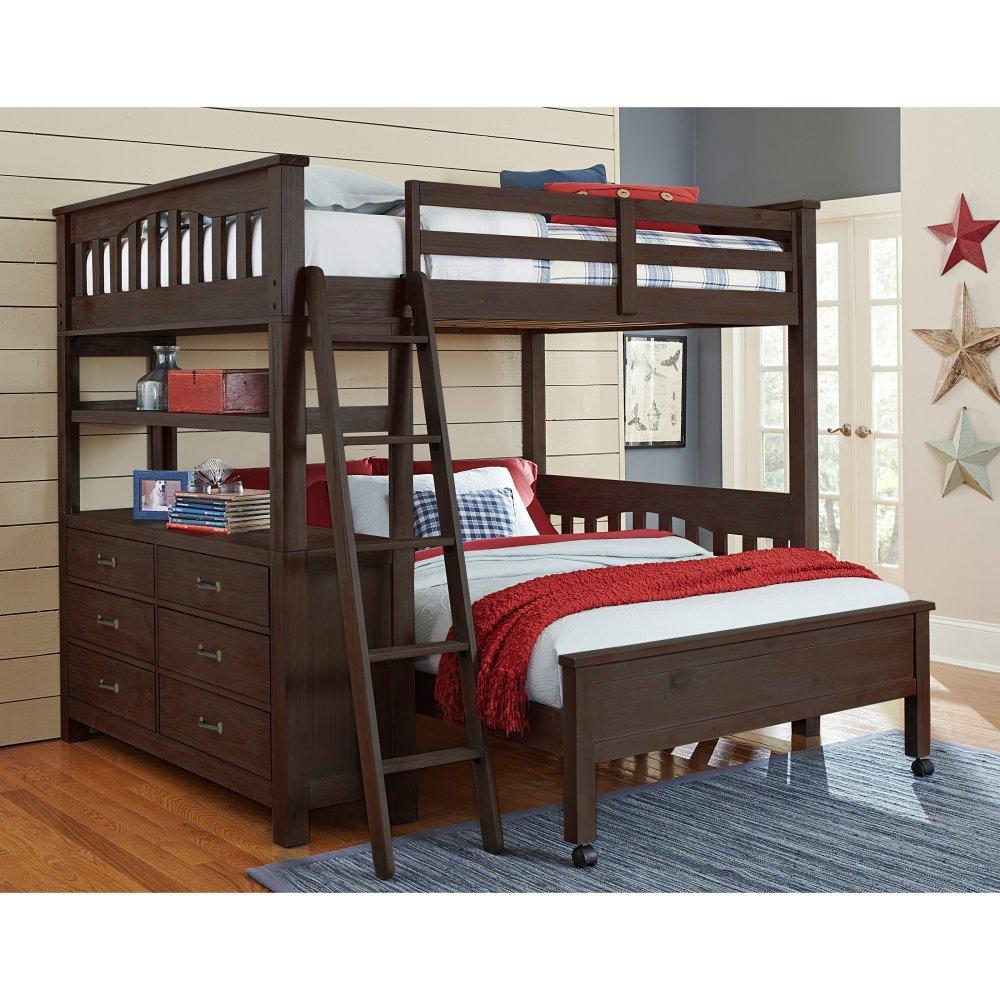 NE Kids Highlands Full Loft Bed with Desk in Espresso