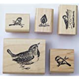 Nature's Blessings Fine Art Stamps, Set of 5 Small Birds: Wren, Chickadee 3, Chickadee 4, Chickadee 6, & Chickadee 7