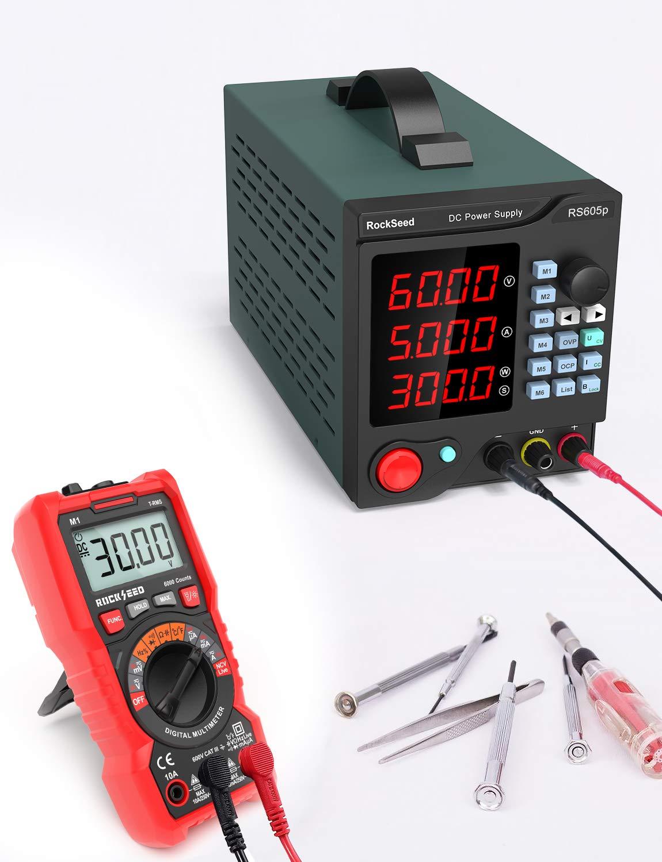 Labornetzger/ät DC mit 4-stelliger LED-Anzeige /Überlast- /& Kurzschlussfest 605P Stabilisiertes Schaltnetzteil Regelbar RockSeed DC 0-60V // DC 0-5A Strommessger/ät Labornetzger/ät