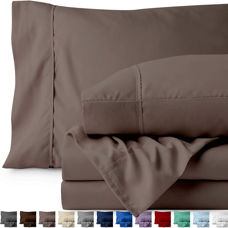 Bare Home King Sheet Set - 1800 Ultra-Soft Microfiber Bed Sheets - Double Brushed Breathable Bedding - Hypoallergenic – Wrinkle Resistant - Deep Pocket (King, Taupe)