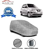 Sarte Car Body Cover for Hyundai Santro Xing with Storage Bag Combo Without Mirror Pockets (Check Design)