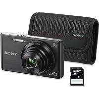 """Sony DSC-W830 - Cámara compacta de 20.1 MP (Pantalla de 2.7"""", Zoom óptico 8X, estabilizador óptico), Negro - Kit cámara + Funda + SD 8 GB"""