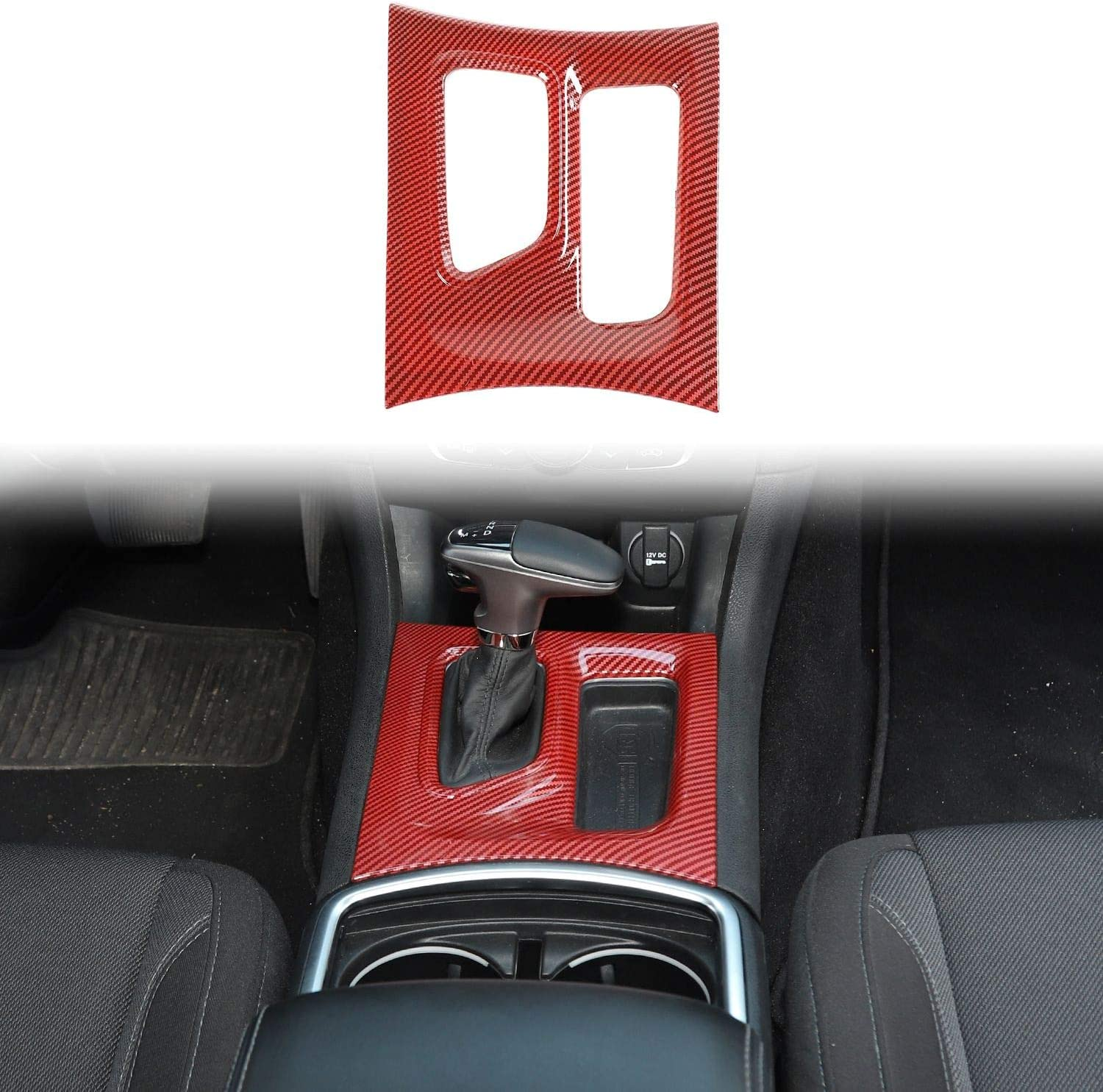 Voodonala for 2011-2020 Dodge Charger Rear Air Conditioner Outlet Vent Trim ABS Red//Black Fiber