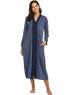 244f4194cb Adoeve Long Sleeve Nightshirt Womens Nightgown Full Length V Neck ...