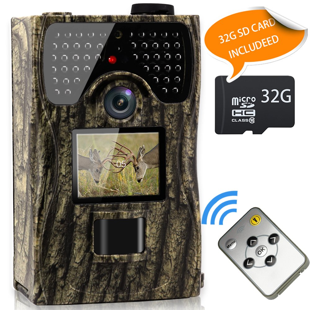 VENLIFE Trail Camera, 12MP 1080P Wildlife Hunting Camera 【32GB SD Card Included】, 65ft Infrared Scouting Camera with Night Vision 48pcs IR LEDs, IP55 Waterproof 0.2s Trigger Time Game Camera