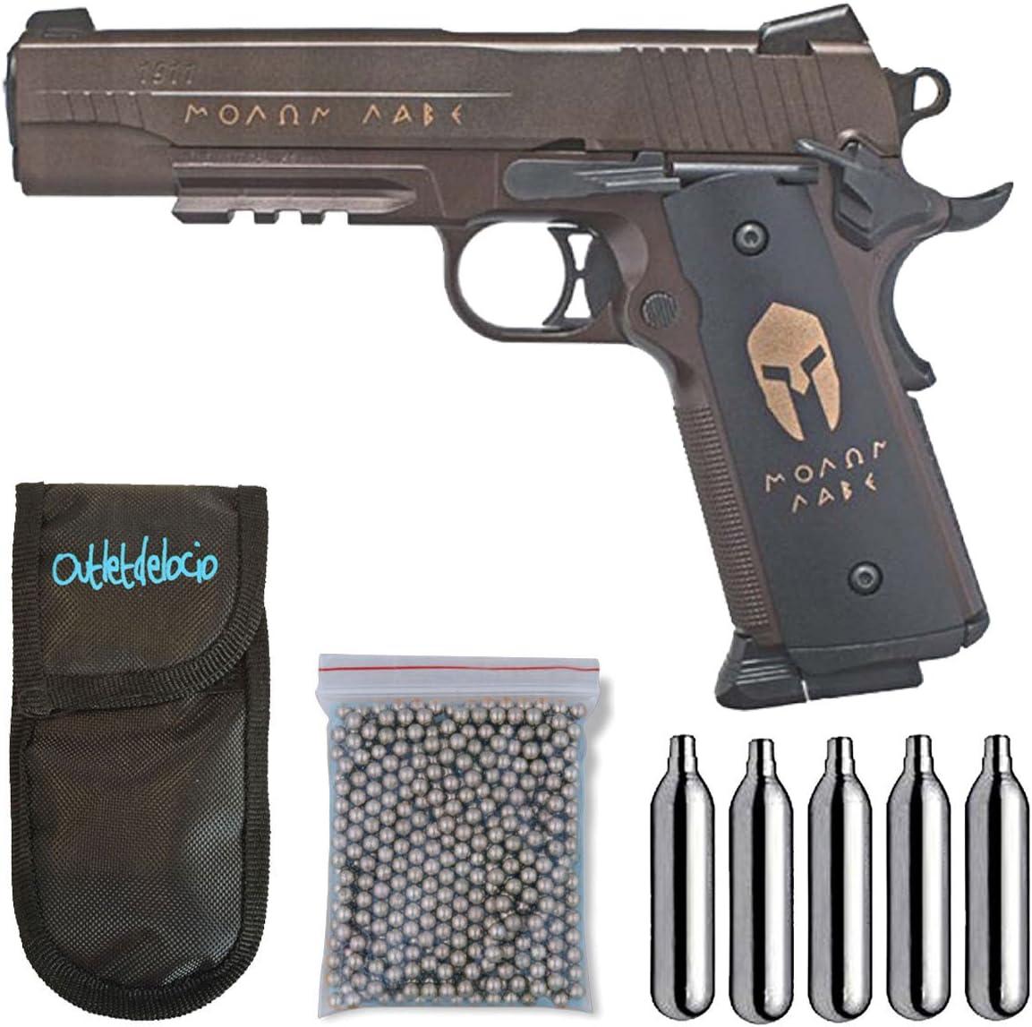 Outletdelocio. Pistola perdigon SS1911SP Sig Sauer Spartan co2 Blowback 4,5mm + Funda Portabombonas + Balines + Bombonas co2. 23054/29318/38123