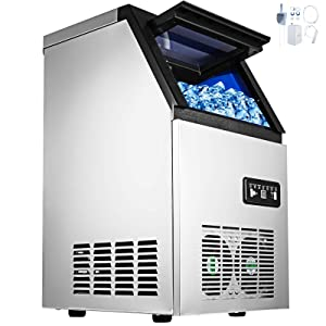 Happybuy 110V Commercial Ice Maker 88lbs/24h with 29lbs Storage 3x8 Cubes Commercial Ice Machine 110V Automatic Ice Machine for Restaurant Bar Cafe