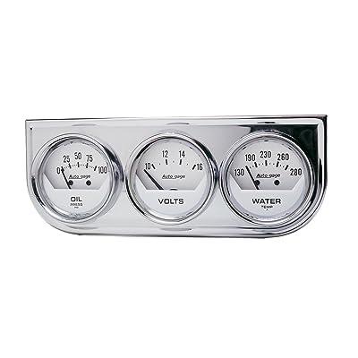AUTO METER 2325 Autogage White Console Oil/Volt/Water Gauge with Chrome Steel: Automotive