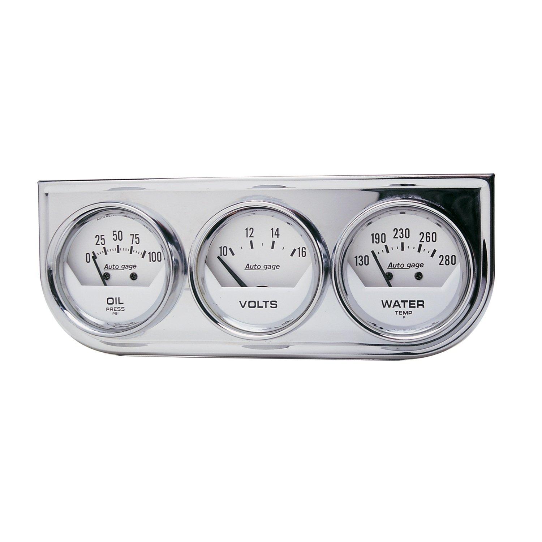 Auto Meter 2325 Auto Gage Black 2-1/16' Mechanical Three-Gauge Console