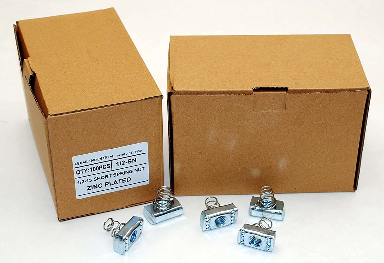 100 Strut Channel Nuts 1//2-13 Short Spring Zinc Plated Unistrut Nut