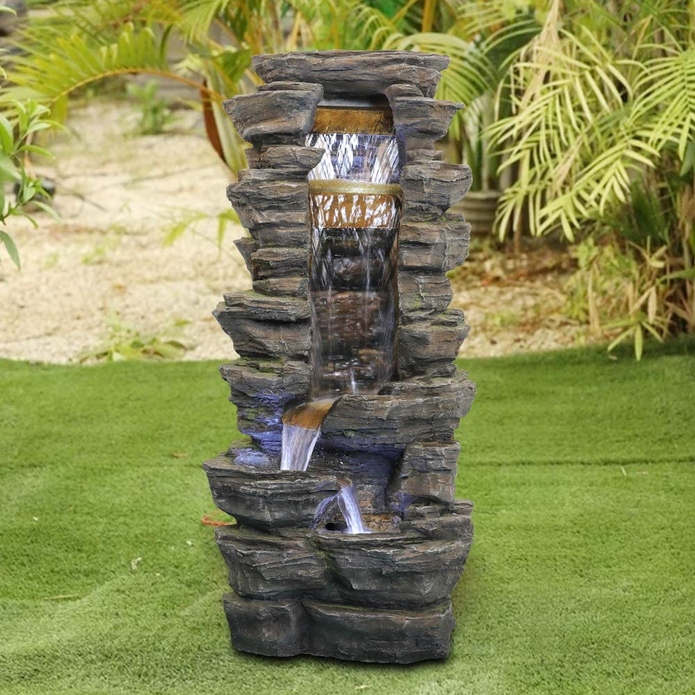 Amazon Com Chillscreamni Showering Outdoor Fountain 40 High Rockery Shower Outdoor Water Fountain With Led Lights For Home Office Decor Stacked Rock Cascading Relaxation Garden Fountain For Patio Yard Kitchen Dining