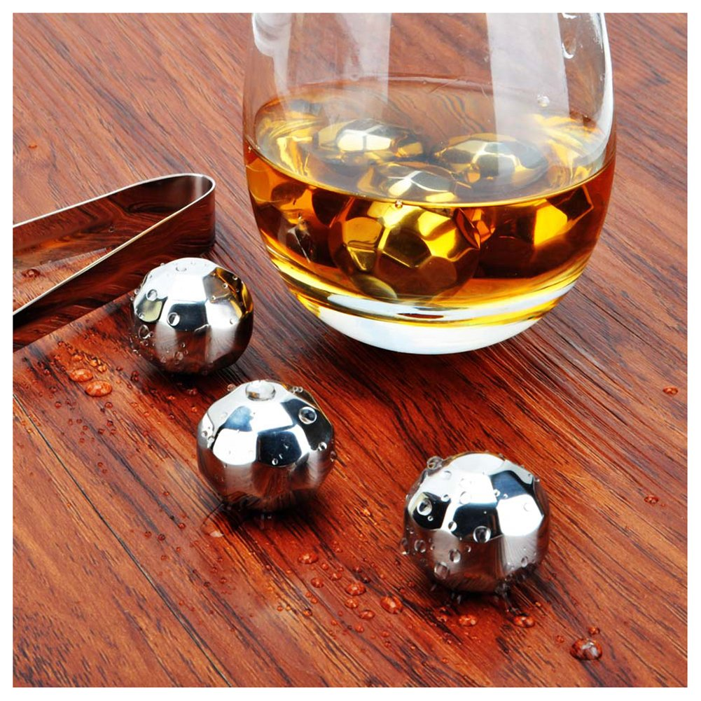 Whiteswallow Reusable Stainless Steel Ice Cube Metal Whiskey Stones for Drinks Diamond Shaped Set of 8