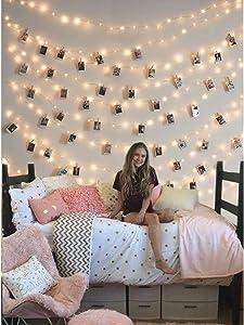 Clip Cadena de Luces LED, LECLSTAR LED Fotoclips Guirnalda de Luces,ideal para Hogar, Pared, Navidad, Fiesta, Boda,Decoraciones de Dormitorio(50 Clips)