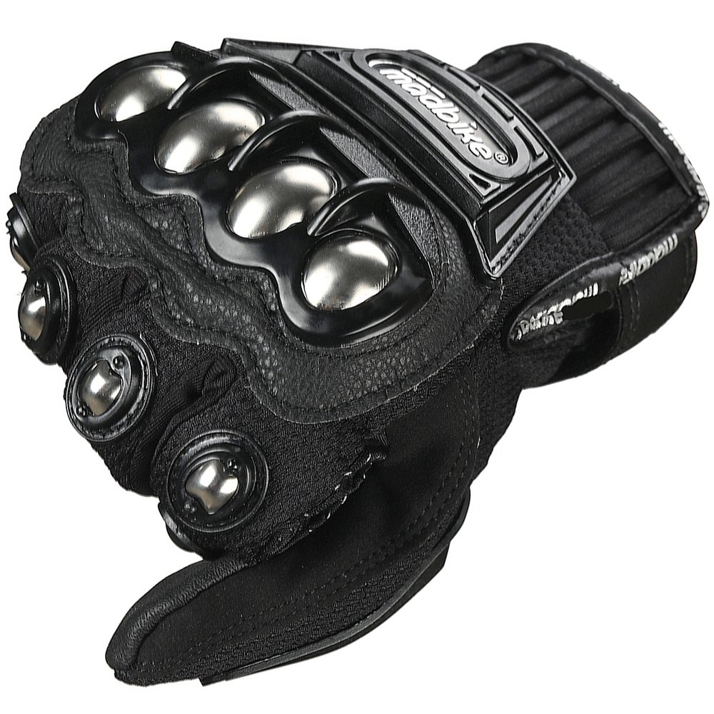 LEATHER XXL, BLACK ILM Alloy Steel Leather Hard Knuckle Touchscreen Motorcycle Bicycle Motorbike Powersports Racing Gloves