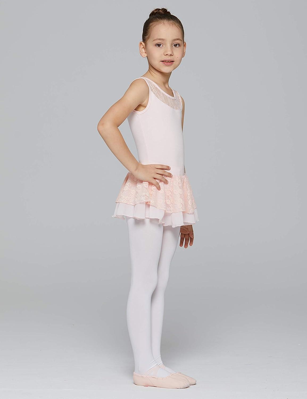 MdnMd Girls Flutter Sleeve Cotton Leotard Dress
