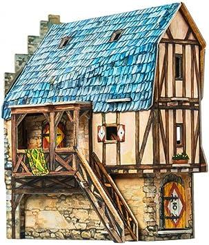 KERANOVA 282 Clever Paper Medieval Town Burgher House 3D Puzzle 15 x 11 x 16 cm Multi Colour