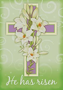 Toland Home Garden Easter Cross 28 x 40 Inch Decorative Pastel Lily Flower He Has Risen House Flag