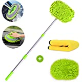 Helloleiboo 2 in 1 Chenille Microfiber Car Wash Mop Mitt and Microfiber Cleaning Cloths Kits Aluminum Alloy Extension Pole Lo