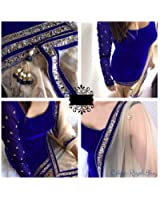 Clothfab Women's Velvet Embroidered Salwar Suit (Royal-Blue-Colour)