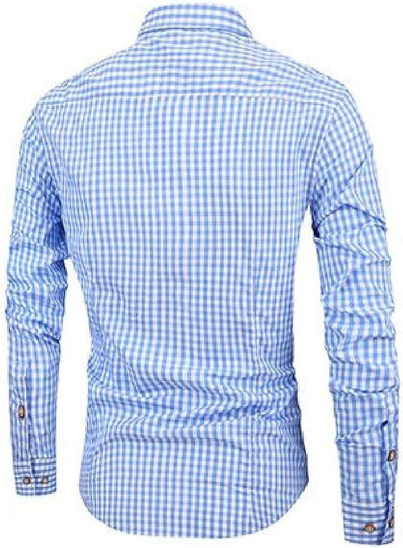 Lutratocro Mens Top Stylish Plaid Button-Down Cotton Long-Sleeve Slim Shirt