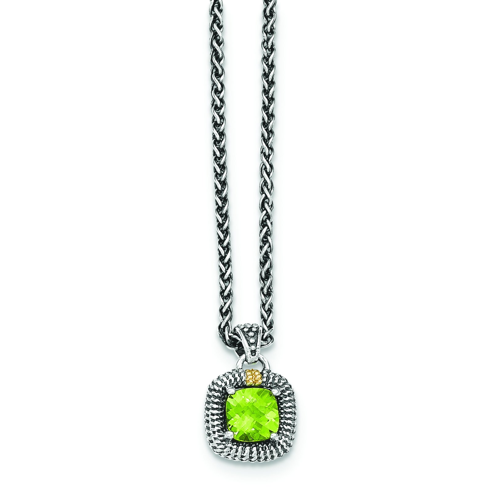 ICE CARATS 925 Sterling Silver 14ky Green Peridot Chain Necklace Gemstone Fine Jewelry Gift Set For Women Heart