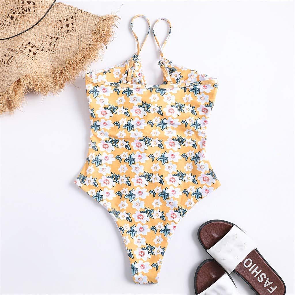 Blustercool Women One-Piece Swimsuit Padded Bra Beach Flower Print Strappy Bikini Swimwear
