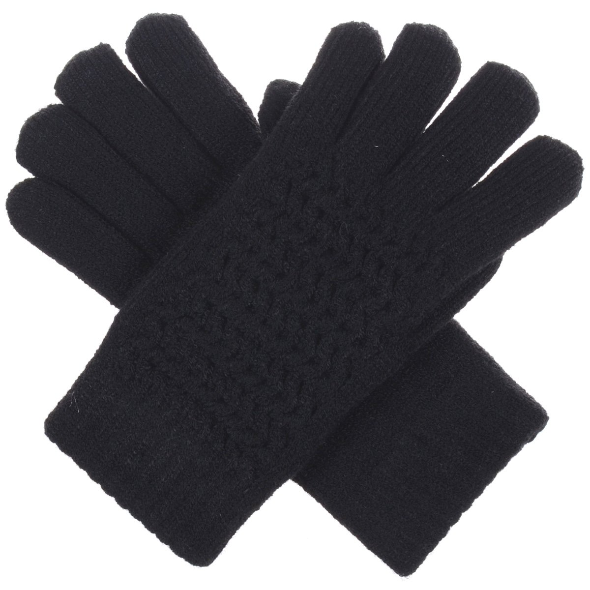 BYOS Womens Winter Ultra Warm Soft Plush Faux Fur Fleece Lined Knit Gloves W/Decorated Cuff (Black Net)