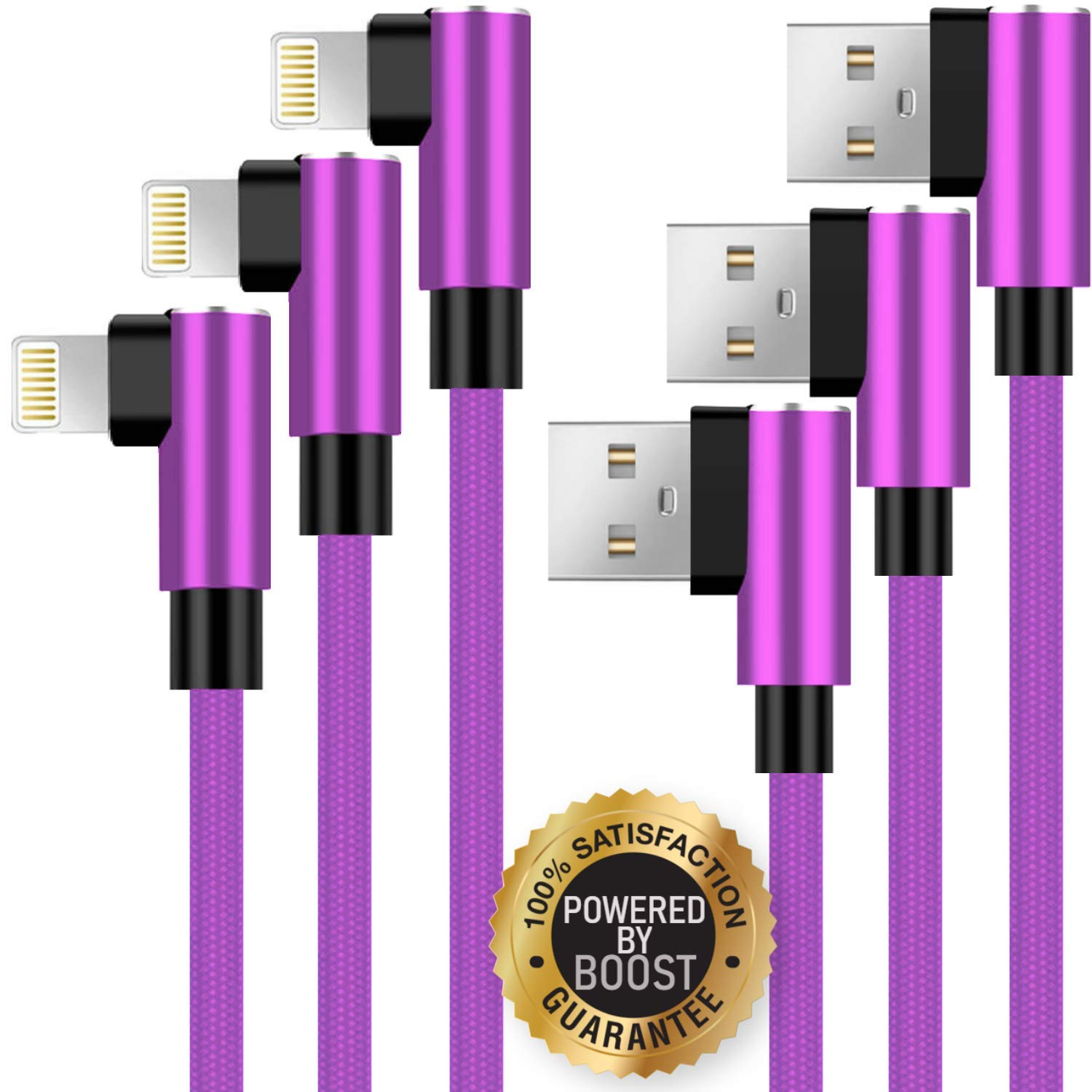 Boost Chargers 3-Pack 6FT Charging Cable Nylon Braided 90 Degree Fast Charging USB Power Charge & Sync Cord Compatible with iPhone XR XS MAX X iPhone 8 8Plus 7 Plus 6S 6S Plus 6 5 SE- Purple