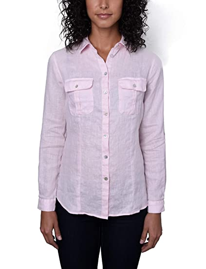 8fa58472334 HAWES   CURTIS Womens Light Blue Relaxed Fit Linen Shirt  Amazon.co ...