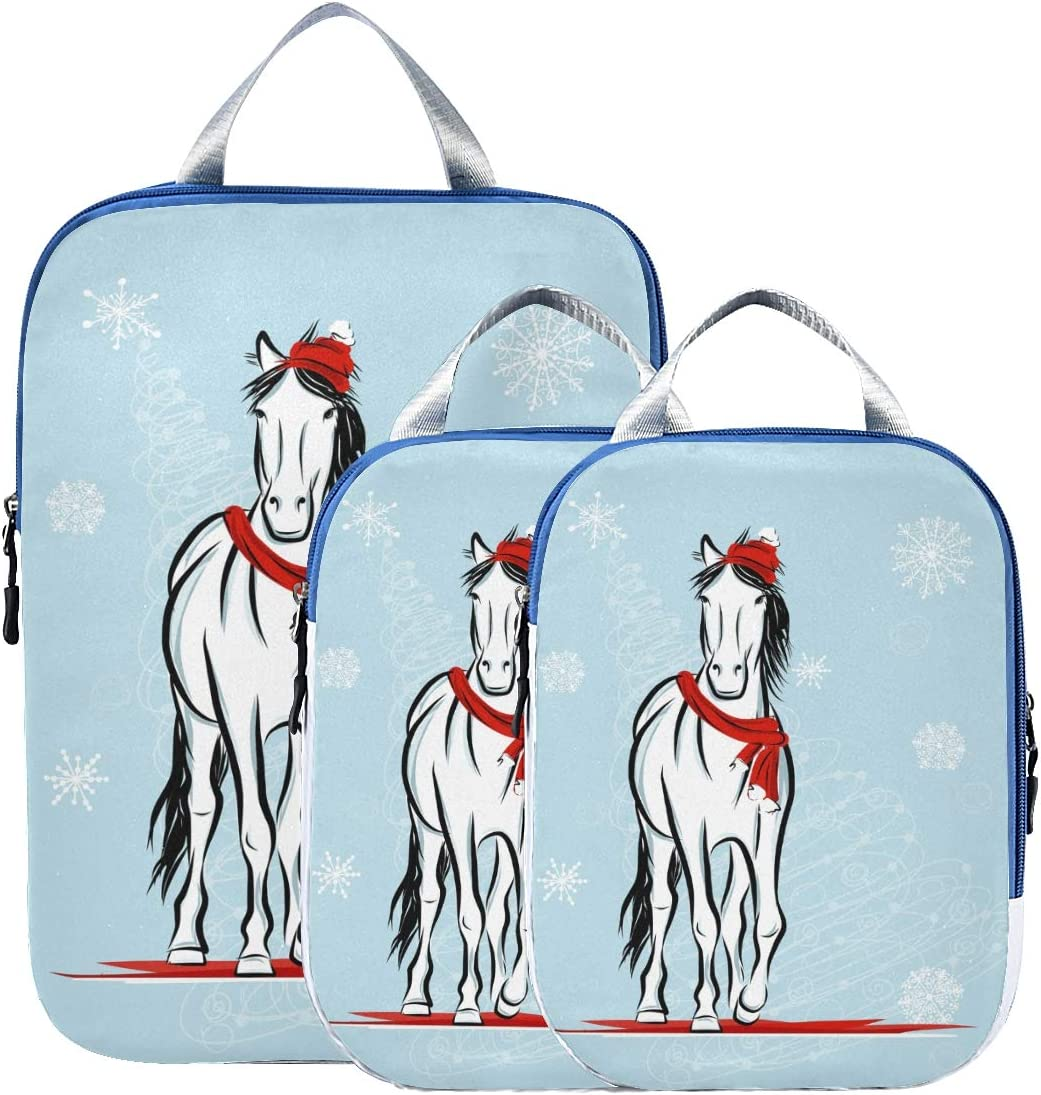 n Horse With Snowflake 3 Set Packing Cubes,2 Various Sizes Travel Luggage Packing Organizers