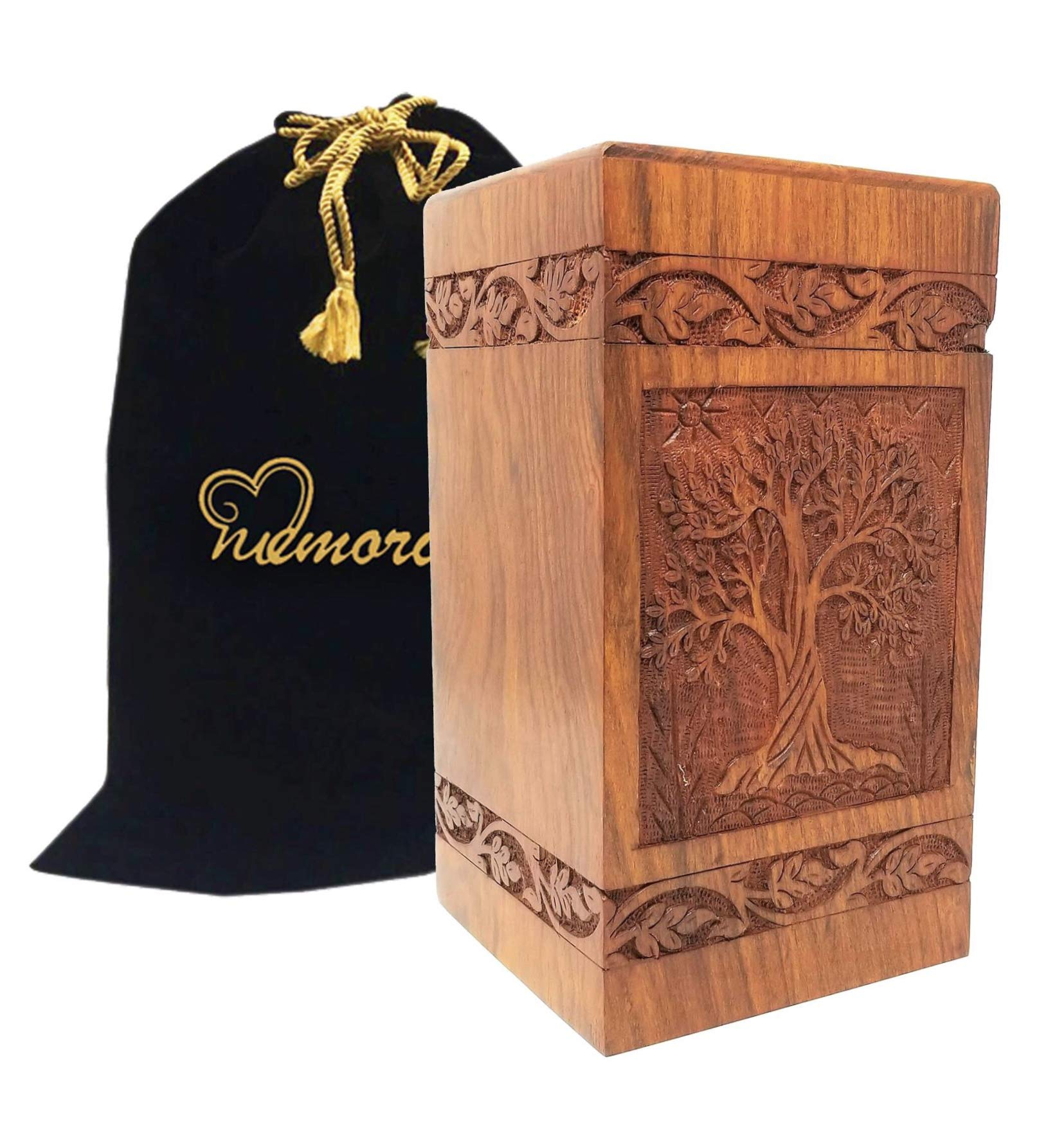 Memorials4u Solid Rosewood Cremation Urn with Hand-Carved Real Tree Design for Human Ashes - Adult Funeral Urn Handcrafted and Engraved - Affordable Urn for Ashes - Wood Urn (Soulful Tree) by MEMORIALS 4U