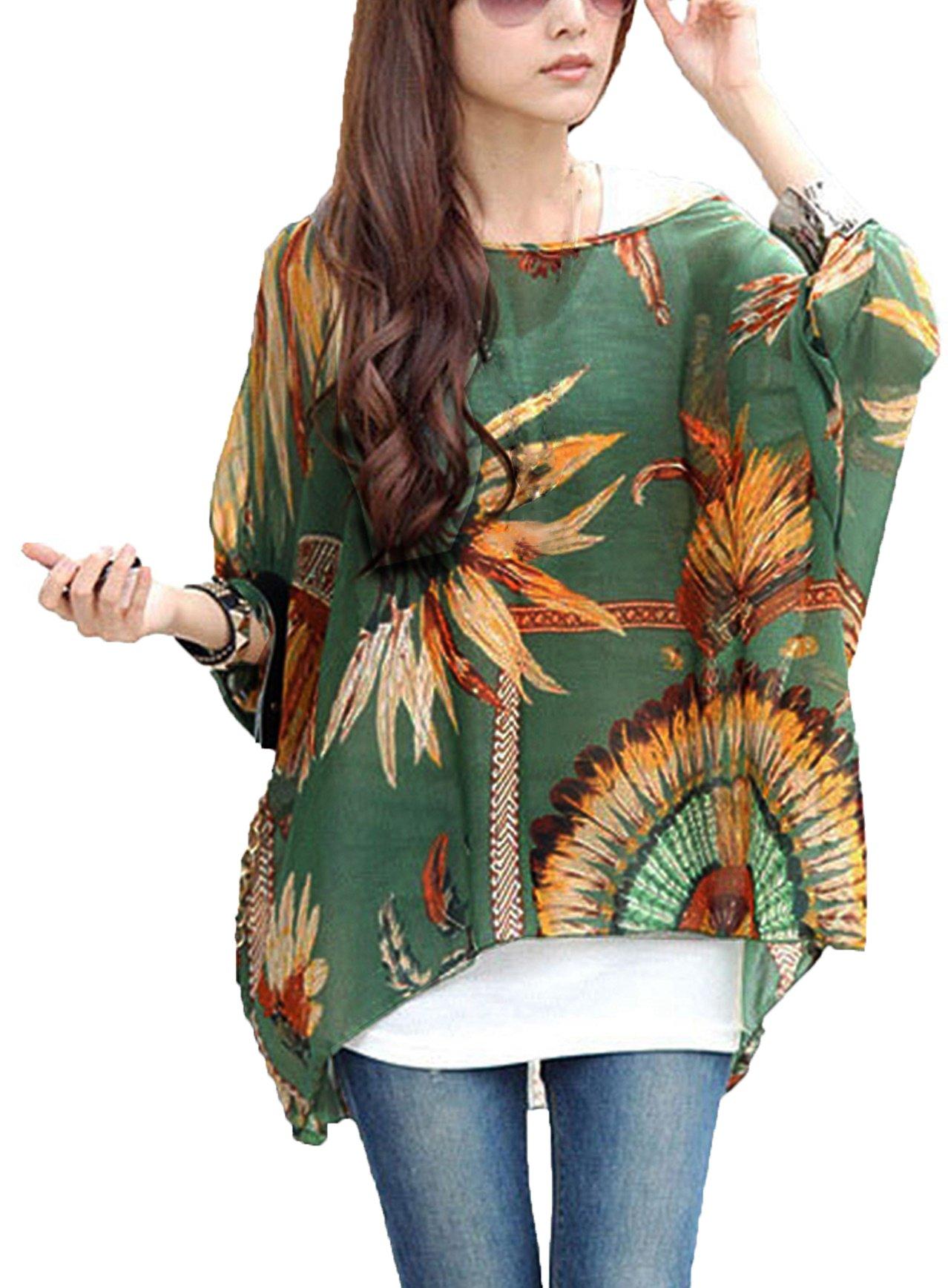 iNewbetter Womens Floral Batwing Sleeve Chiffon Beach Loose Blouse Tunic Tops 01