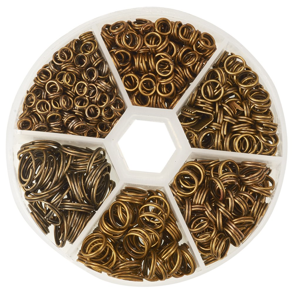 Pandahall 1 Box Mixed Size Antique Bronze Split Iron Double Jump Rings, Nickel Free PH PandaHall IFIN-X0026-AB-NF-B