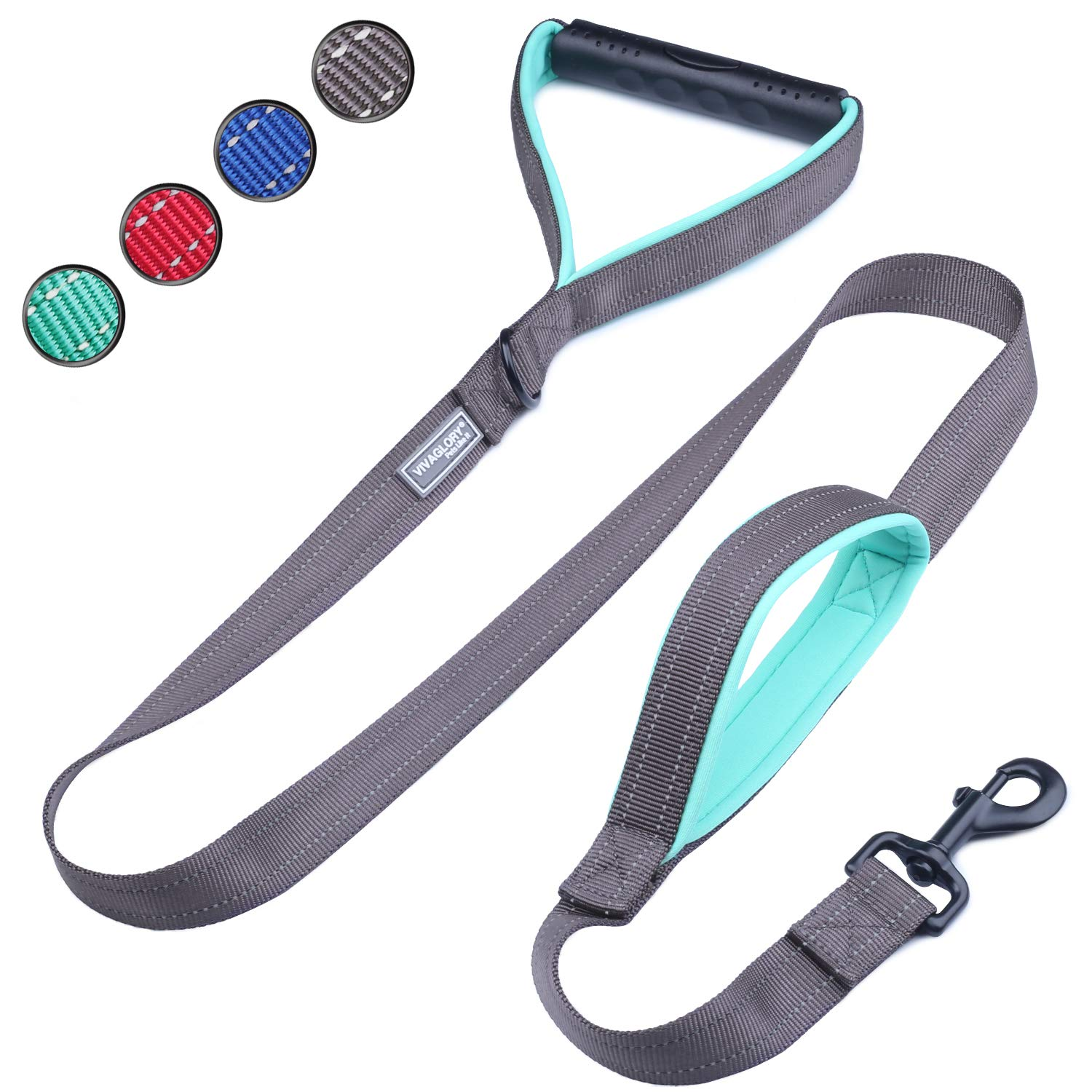 VIVAGLORY Dog Training Leash with 2 Padded Handles, Heavy Duty 6ft Long Reflective Safety Traffic Handle Leash Walking Lead for Medium to Large Dogs, Grey by VIVAGLORY