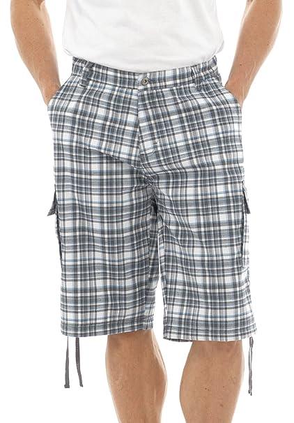 0880e08c2896 Tom Franks Men s Summer Knee Length Check Cargo Shorts Pants (M) Gey White