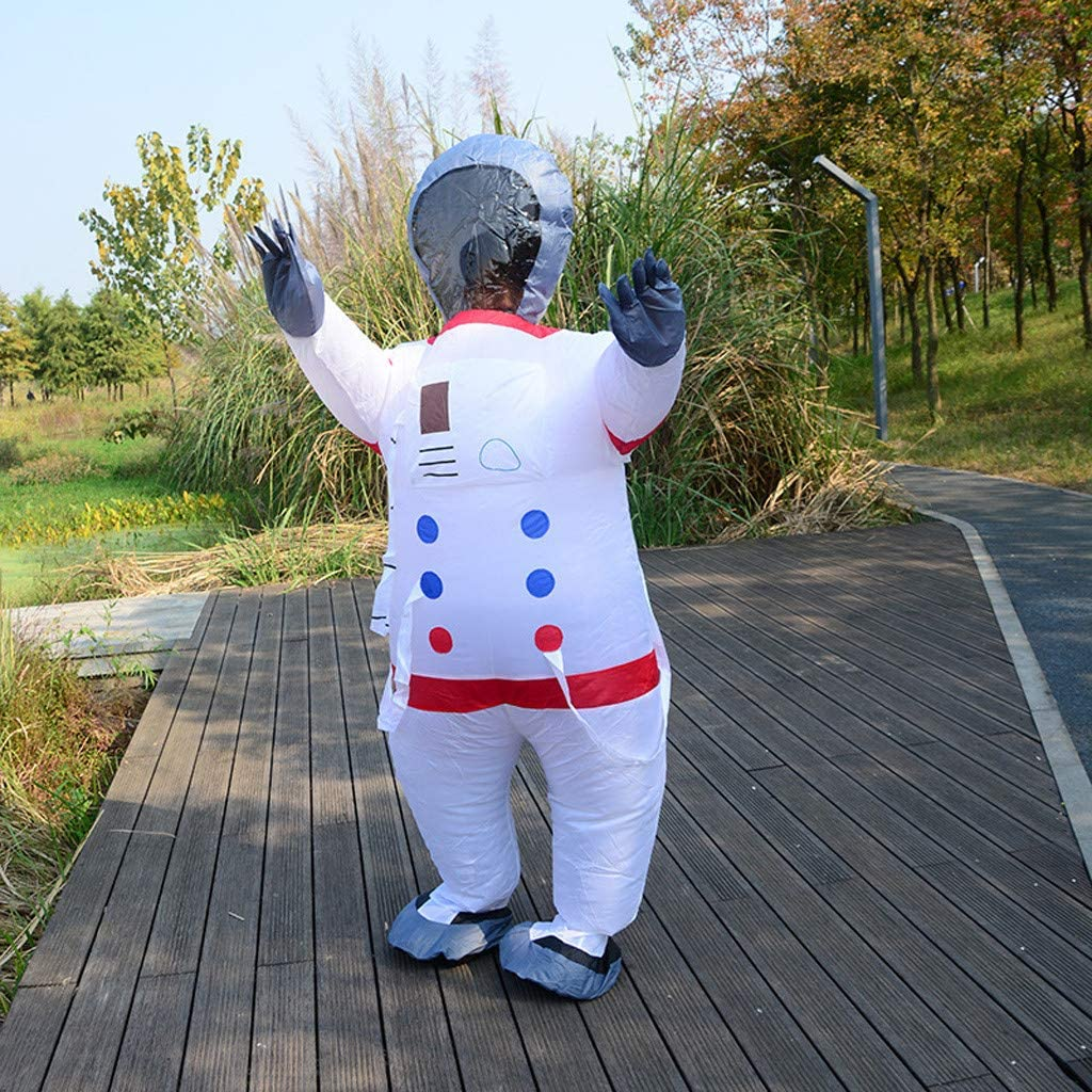 White Sealed Astronaut Suit Spaceman Adult Unisex Blow up Suit Costume Inflatable Chub-Suit Costume Jumpsuit Cosplay Plus Size