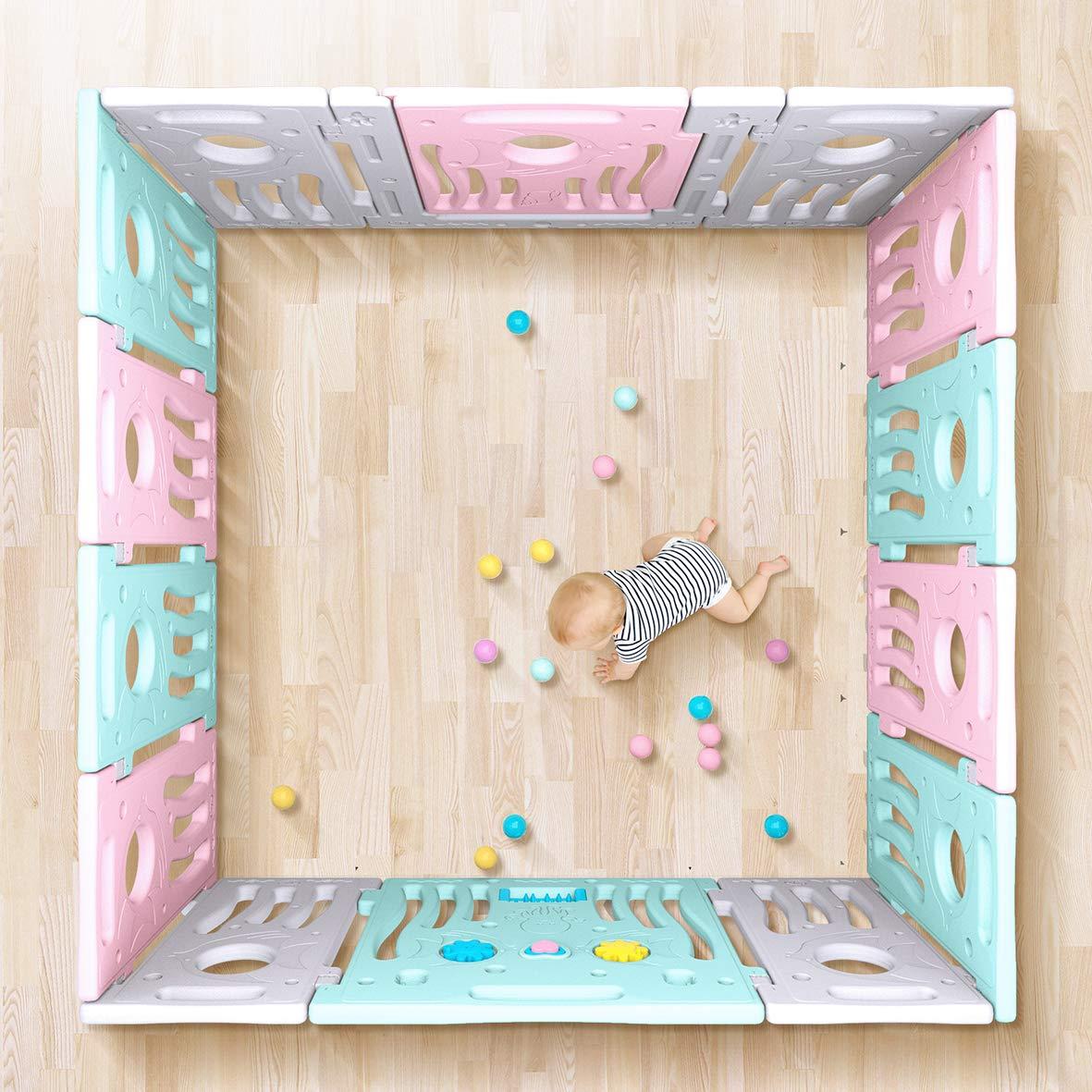 LONTEK Box per Bambini Grande Sicurezza Barriera Pieghevole Cancelletto Recinto con Porta Plastica Estensibile g/ìochi parco 18 Panels