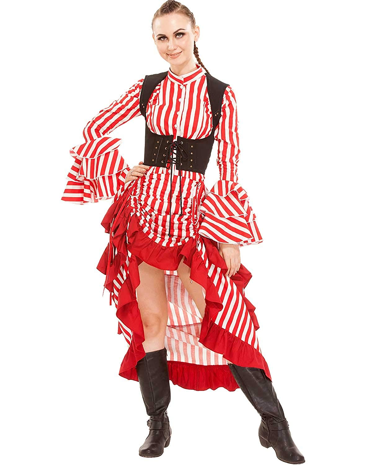 Saloon Girl Costume | Victorian Burlesque Dresses & History ThePirateDressing Steampunk Victorian Cosplay Costume Womens High-Low Show Girl Skirt C1367 $52.95 AT vintagedancer.com